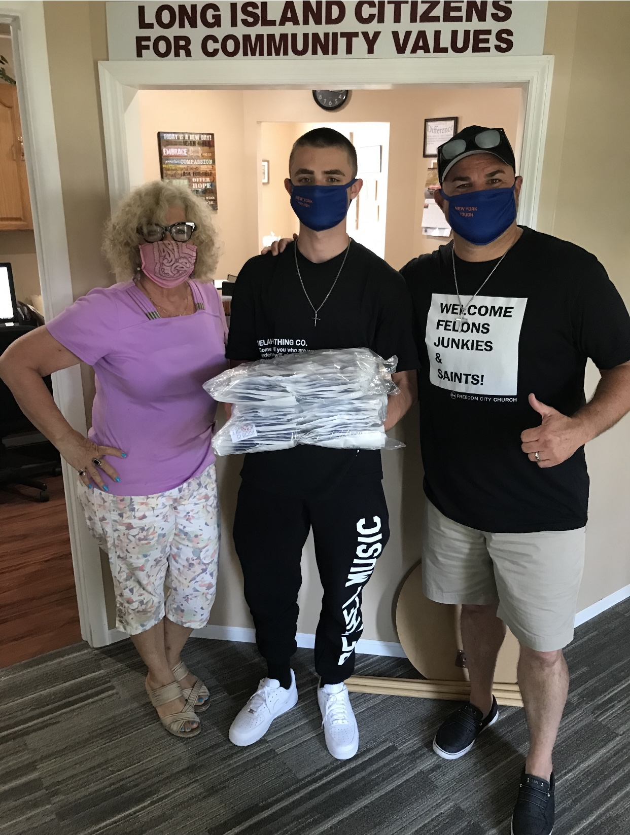 Masks For Youth, Compass Church, E. Northport, Pastor Chris Fennelly, And Son Josiah.