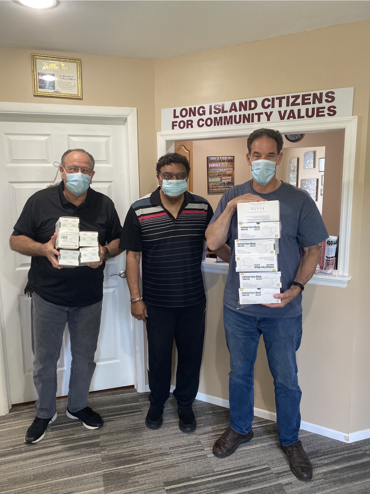 Getting Masks Out To Suffolk Community, Pastor Phil Cali, Sayville And Pastor Scott Ingvaldsen, Smithtown.